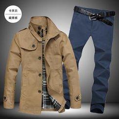 Alvicio - Set: Trench Coat + Slim-Fit Pants