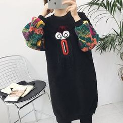 RASA - Patterned Fleece Panel Long Sweatshirt