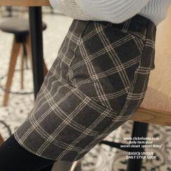 CLICK - Wool Blend Check Miniskirt