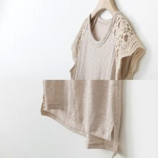 PEPER - Lace-Panel Cap-Sleeve T-Shirt