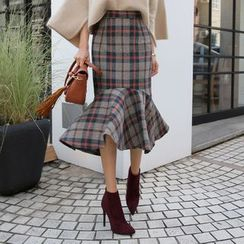 DABAGIRL - Plaid Midi Mermaid Skirt