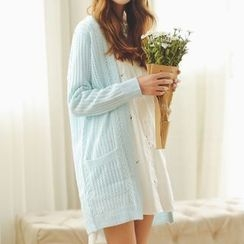 MIKPO - Open Knit Long Cardigan