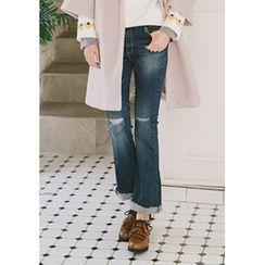 GOROKE - Slit-Knee Washed Boot-Cut Jeans