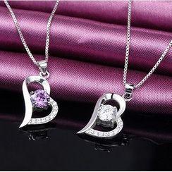 Zundiao - Sterling Silver Rhinestone Heart Pendant