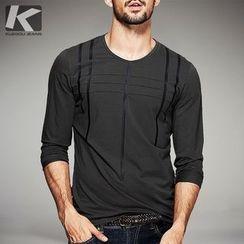 Quincy King - Long-Sleeve Plaid T-Shirt