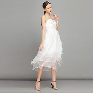 YiGelila - Strapless Bow-Accent Ruffle Dress