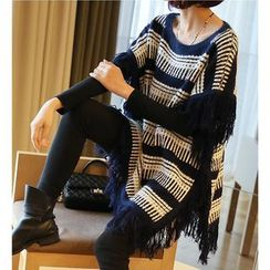 YIDIYU - Fringed Patterned Long Sweater