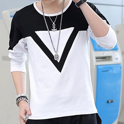 Besto - Two-Tone Long-Sleeve T-Shirt