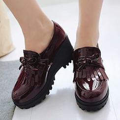 CITTA - Fringed Platform Wedge Patent Loafers