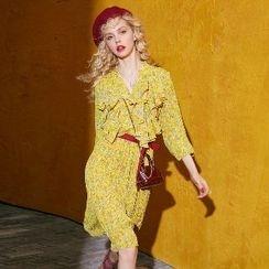 ELF SACK - Ruffle Floral Chiffon Dress