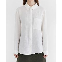 Someday, if - Pocket-Front Crinkled Cotton Shirt