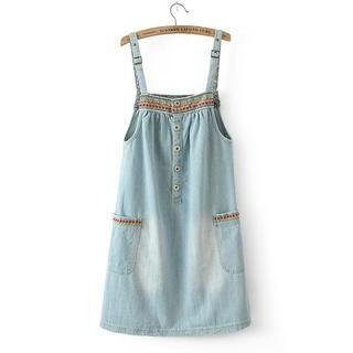 LULUS - Embroidered-Trim Denim Jumper Dress