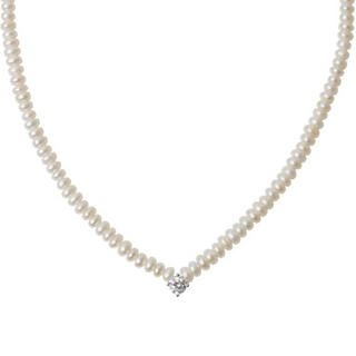 Rhinestone Accent Freshwater Pearl Necklace