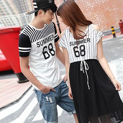 Igsoo - Couple Matching Print Short-Sleeve T-Shirt / Cutout Shoulder Midi Dress