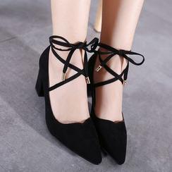安若 - 粗跟繫帶高跟鞋