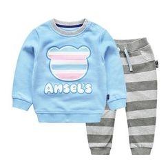 Ansel's - 童装套装: 印花卫衣 + 条纹运动裤