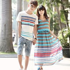 Igsoo - Couple Matching Stripe Short-Sleeve T-Shirt / Sleeveless Midi Dress