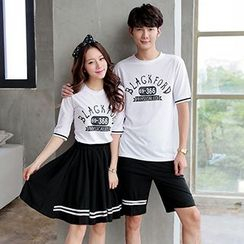 Lovebirds - Set: Printed Couple T-Shirt + A-Line Skirt / Shorts