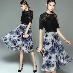 洛图 - 蕾丝拼接印花下摆中长连衣裙