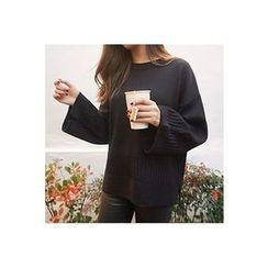 CHERRYKOKO - Wide-Sleeve Wool Blend Knit Top