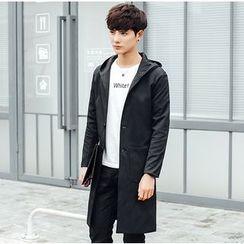 Consto - Plain Hooded Long Jacket
