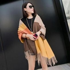 Cuteberry - Color-Block Fringed Scarf