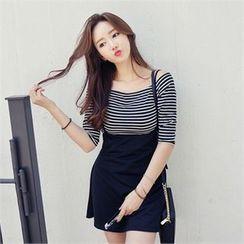 SARAH - Set: Off-Shoulder Striped Top + Jumper Skirt