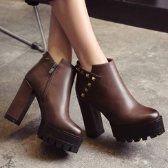 JY Shoes - Studded Platform Heeled Ankle Boots