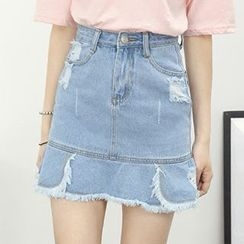 Honey House - Distressed A-Line Denim Skirt