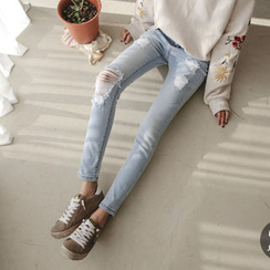 JUSTONE - Distressed Skinny Jeans