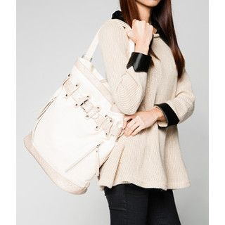 yeswalker - Faux Ostrich Trim Belted Tote