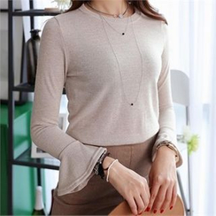 CHICFOX - Ruffle Long-Sleeve T-Shirt