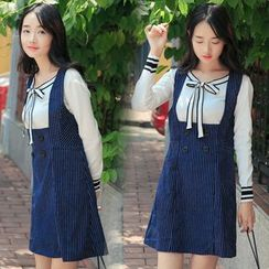 Ashlee - Set: Knit Pullover + Pinstriped Jumper Dress