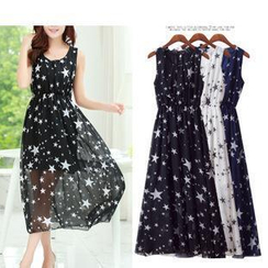 Isadora - Sleeveless Star Print Chiffon Dress