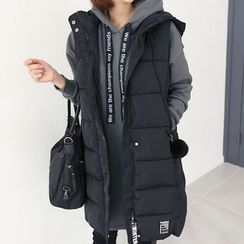 DANI LOVE - Pompom Detail Hooded Puffer Long Vest