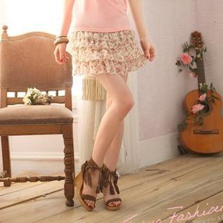 Tokyo Fashion - Layered Floral Chiffon Skirt