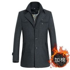 Keerme - Wool Blend Buttoned Zip Coat