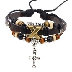KINNO - Cross Genuine Leather Bracelet