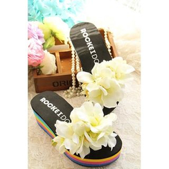 Trava - Floral Applique Platform Flip-flops