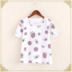 Fairyland - Cartoon Print Short-Sleeve T-Shirt
