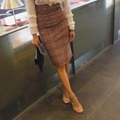 REDOPIN - Check-Pattern High-Waist Pencil Skirt