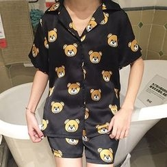 CaraMelody - Set: Bear Print Short-Sleeve Pajama Top + Shorts