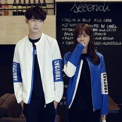 INUS - Couple Matching Colour Block Letter Baseball Jacket