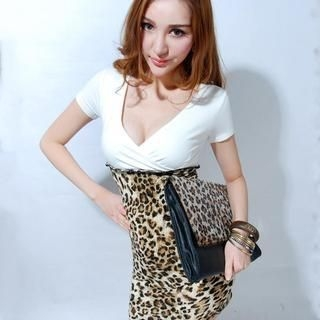 Miss Aries - Two-Tone Wrap-Front Bodycon Dress
