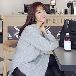 Seoul Fashion - Dip-Back Wool Blend Knit Dress