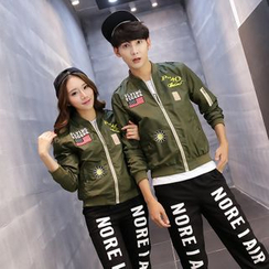 Lovebirds - Applique Couple Baseball Jacket