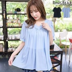 RingBear - V-Neck Pleated Top