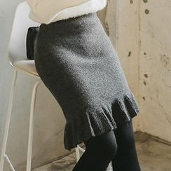 Seoul Fashion -  Asymmetric Ruffle-Hem Furry-Knit Skirt