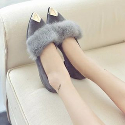 Moonlit Valley - Furry-Trim Pointy-Toe Flats