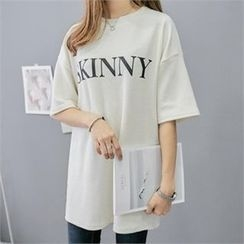 PIPPIN - Lettering Brushed-Fleece Mini T-Shirt Dress